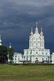 斯莫尔尼宫大教堂的看法。 图库摄影