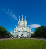 斯莫尔尼宫大教堂,圣彼得堡,俄罗斯 免版税库存照片