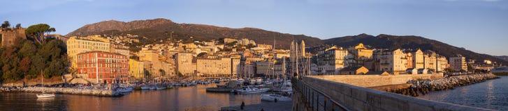巴斯蒂亚港口, corse,法国全景  免版税库存图片