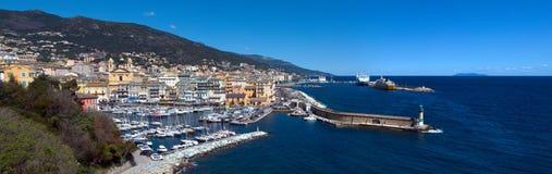 巴斯蒂亚-可西嘉岛(法国)的一般全景 免版税库存图片