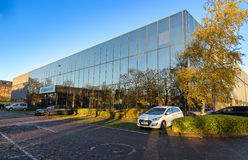 斯蒂夫尼奇, ENGLAND-NOVEMEBR 16日2016年 Cobham作为有限公司Aeroflex的无线贸易 免版税库存照片