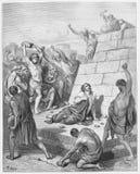 斯蒂芬殉教扔石头 皇族释放例证
