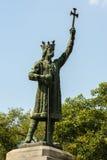 斯蒂芬cel母马的纪念碑在基希纳乌,摩尔多瓦 免版税库存图片