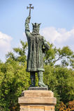 斯蒂芬cel母马的纪念碑在基希纳乌,摩尔多瓦 免版税图库摄影