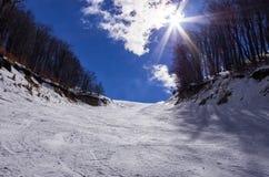 斯诺伊倾斜在3-5 Pigadia滑雪中心, Naoussa,希腊 免版税库存照片