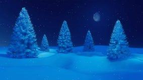 斯诺伊冬天冷杉在镇静降雪晚上4K 库存例证