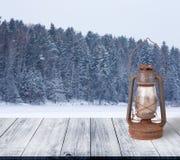 斯诺伊冬天在森林背景中 从黑暗的木ga的看法 库存图片