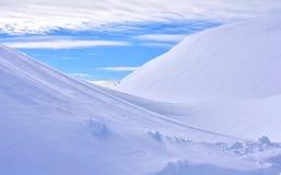 斯诺伊冬天场面覆盖蓝天 免版税库存照片