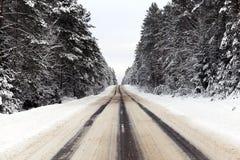 斯诺伊冬天路 免版税图库摄影