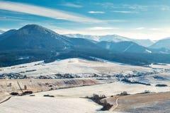 斯诺伊冬天风景, 免版税库存照片