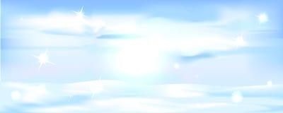 斯诺伊冬天水平风景的横幅- 免版税库存图片