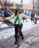 斯诺伊单轮脚踏车 免版税库存照片