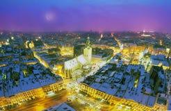 斯诺伊圣诞节利沃夫州 免版税库存图片
