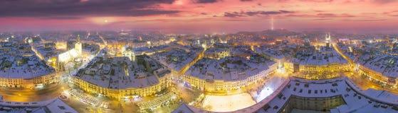 斯诺伊圣诞节利沃夫州 库存照片