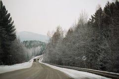 斯诺伊在冻森林中的冬天路在雨夹雪以后 冷气候,暴风雪,坏可见性 莫斯科地区 库存图片