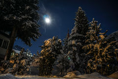 斯诺伊夜在Andermatt,瑞士 库存照片