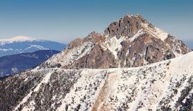 斯诺伊小山风景视图从国家公园Mala Fatra的 库存照片