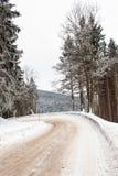 斯诺伊山路 冰的风险 道路在多雪的森林 库存照片