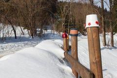 斯诺伊木篱芭 老篱芭在冬天 包括的横向雪 图库摄影