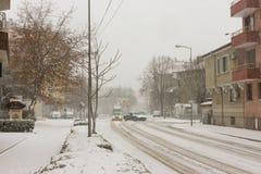 斯诺伊波摩莱街道镇在保加利亚, 12月31日 库存图片
