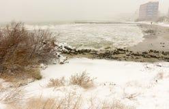 斯诺伊海滩镇波摩莱,保加利亚, 12月31日 免版税库存图片
