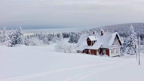 斯诺伊瑞士山中的牧人小屋 库存图片