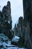斯诺伊砂岩岩石 免版税库存照片