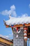 斯诺伊领域在东川,云南红色土地农舍 库存图片