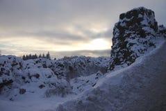 斯诺伊风景在冰岛公园 图库摄影