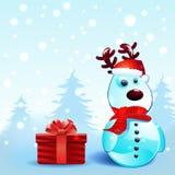斯诺伊驯鹿圣诞节背景 免版税图库摄影