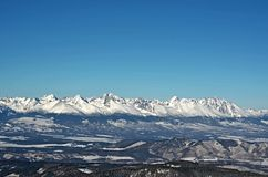 斯诺伊高Tatras山在冬天,斯洛伐克 免版税库存图片