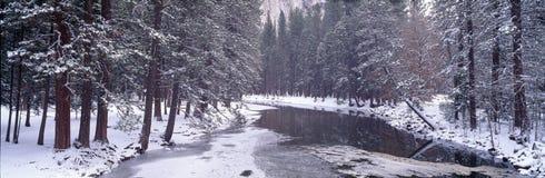 斯诺伊Merced河在优胜美地 免版税库存照片