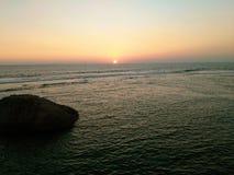 斯里兰卡加勒堡垒日落,日落 图库摄影