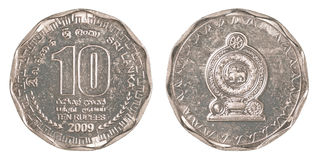 10斯里兰卡卢比硬币 库存照片