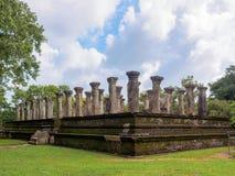 斯里兰卡的国王古老会议室在Polonnaruwa 免版税库存图片