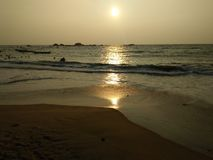 斯里兰卡的美丽的海滩照片 hikkaduwa海滩 库存照片