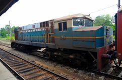 斯里兰卡的铁路柴油电力机车火车引擎停放了在驻地 图库摄影