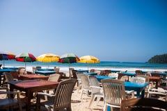 斯里兰卡餐馆海滩mirissa假日 免版税库存照片