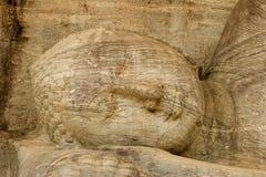 斯里兰卡, Polunarwara,斜倚的菩萨 免版税库存照片