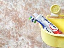 斯里巴加湾/文莱- 2019年5月19日:牙刷和Pepsodent牙膏的图象在一个黄色桶 免版税库存图片