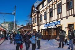 斯洛伐克, STARY SMOKOVEC - 2015年1月06日:在火车站在高Tatras山的Stary Smokovec的高峰时间 库存图片