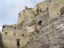 斯洛伐克Spissky在一个大岩石的城堡内在墙壁 库存图片