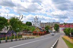 斯洛尼姆 迟来的 从桥梁的看法在运河Oginski 免版税图库摄影