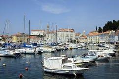 斯洛文尼亚,皮兰,小游艇船坞 免版税库存照片