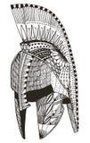 斯巴达盔甲 Zentangle传统化了 也corel凹道例证向量 模式 免版税库存图片