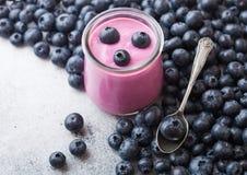 新与新鲜的蓝莓和生来有福的hommemade乳脂状的蓝莓酸奶在石厨房用桌背景 库存图片
