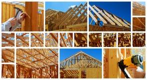 新住宅建设家庭构筑与屋顶视图照片拼贴画 免版税图库摄影