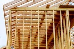 新住宅建设家庭构筑有屋顶视图 库存照片