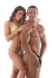 新健身夫妇纵向  免版税库存图片