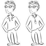 新偶然和正式男性角色草图 免版税库存图片